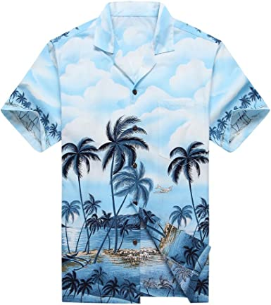 Made in Hawaii Mens Hawaiian Shirt Aloha Shirt Palms Diamond Head Edge Grey