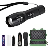 RedSun Hollyton Professional Brightness Mini Flashlight Lamp 5 Modes Zoomable Adjustable Flashlight Torch with 18650 & Charger & Light Pouch Holster