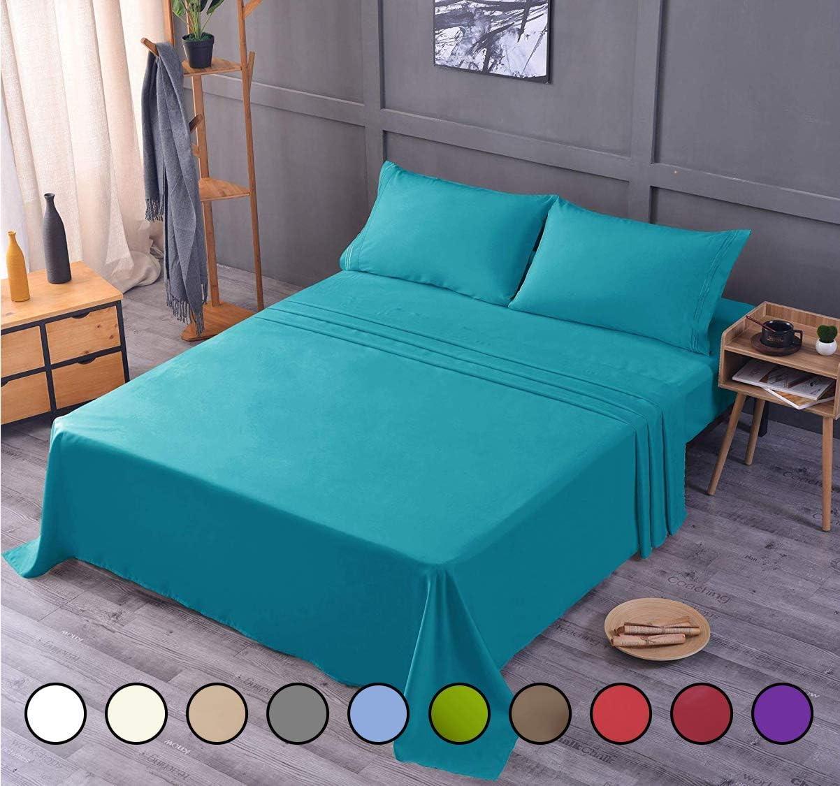 Bamboo Ultra Soft Luxury Sheet Set – Deep Pocket, Machine Washable, Wrinkle and Shrink Resistant, Hypoallergenic, Cooling, Fade Resistant Bedding Sheet – 5 Piece Set (Split King, Teal)