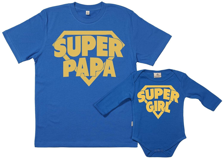 Spoilt Rotten SR - Geschenkpackung Baby Geschenkset - Super Papa & Super Girl - Papa T-Shirt & Baby Strampler in Geschenkbox - Vater Baby Geschenkset DESRGRO12