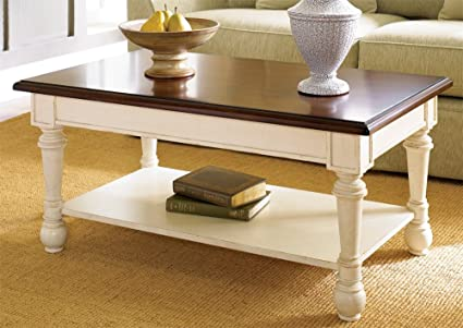 High Quality Hammary Promenade Rectangular Cocktail Table Fruitwood/Antique Linen