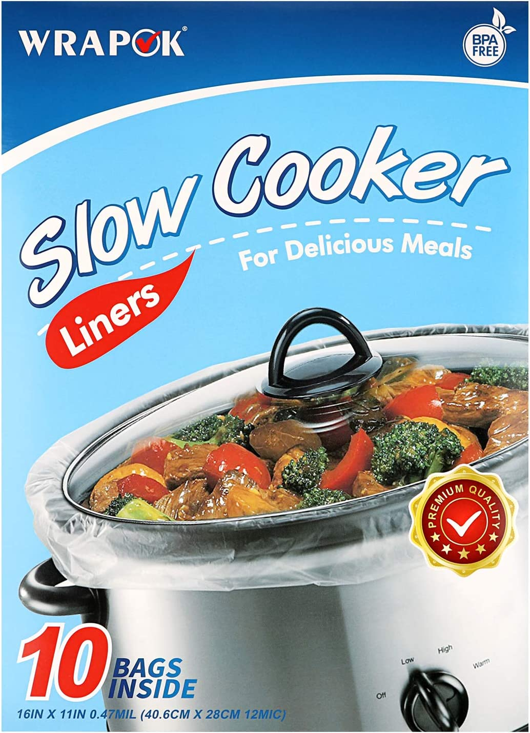 WRAPOK Slow Cooker Liners Kitchen Disposable Cooking Bags BPA Free for Oval or Round Pot, Small Size 11 x 16 Inch, Fits 1 to 3 Quarts - 1 Pack (10 Bags Total)
