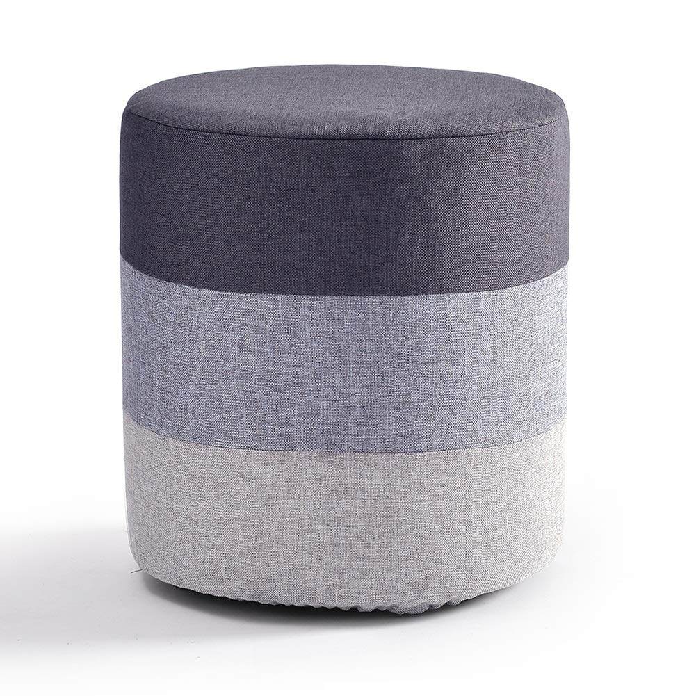 LFF Foot Stool Wooden Household Creative Small Round Fabric Footstool for Living Room 29X29X35cm (Color : Gray)
