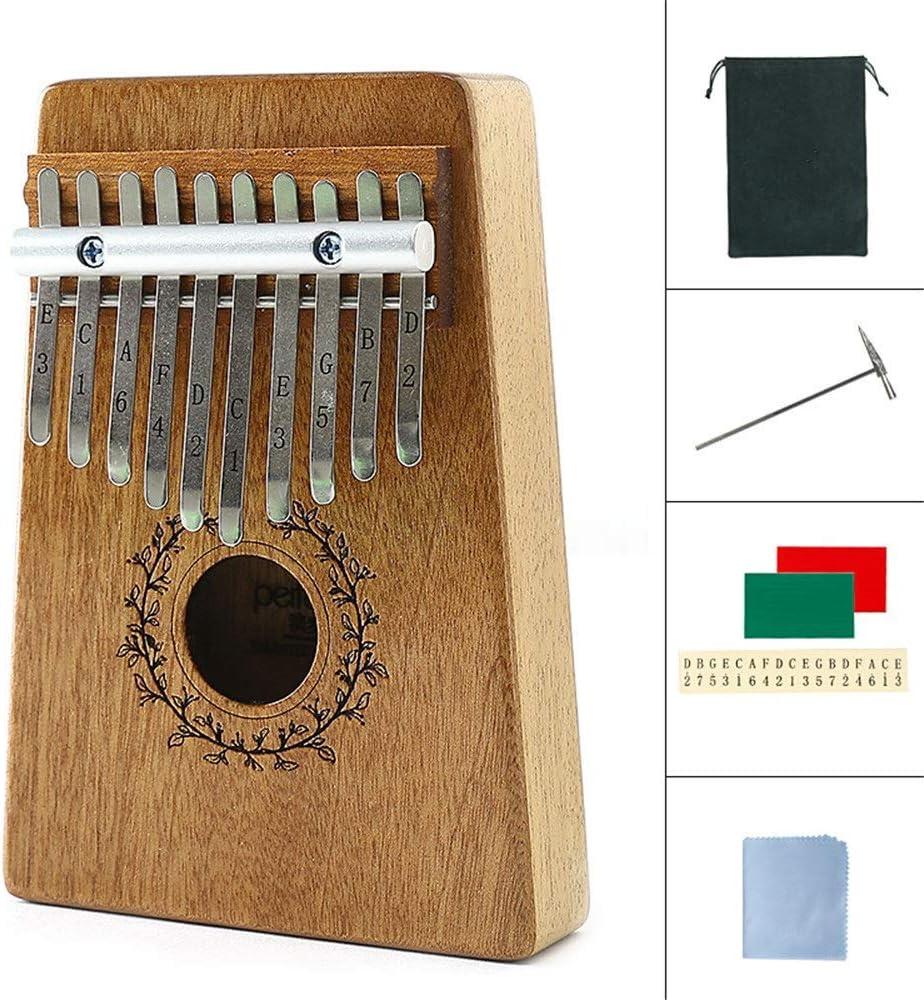Kalimba ポータブルCarimbaピアノフィンガーピアノアフリカの木琴の親指ピアノ音源ピッチキー アフリカ楽器 (色 : Mahogany10, Size : ONE SIZE)