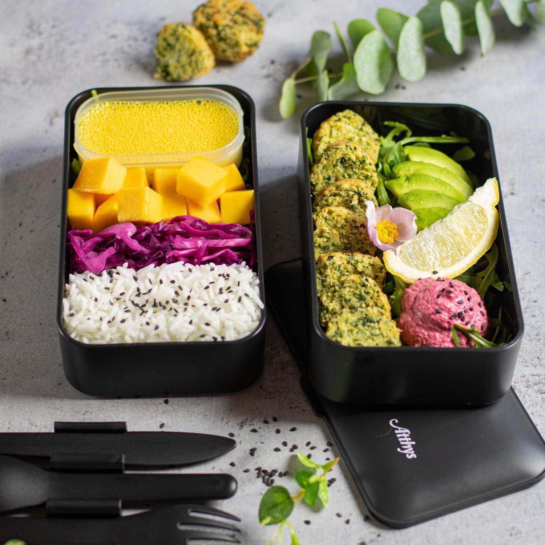 Bo/îte D/éjeuner Bois Adultes ou Enfants Premium Atthys/® Lunch Box Noir Mat Bento Japonais Design 3 Couverts Micro-Ondes Lave-Vaisselle Bento Box 2 Compartiments Herm/étiques 1200 ML