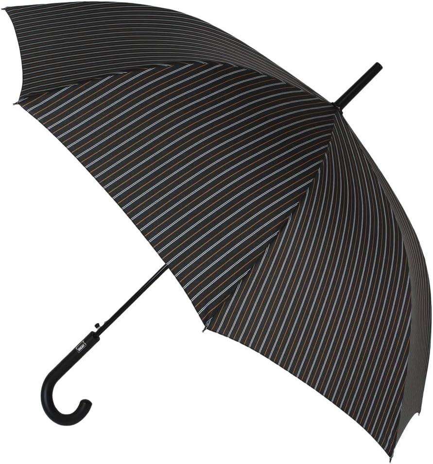 Elegante Paraguas básico Vogue para Hombre. Estampado Raya diplomática. Sistema antiviento y Apertura automática (Rayas marrón Blanco)