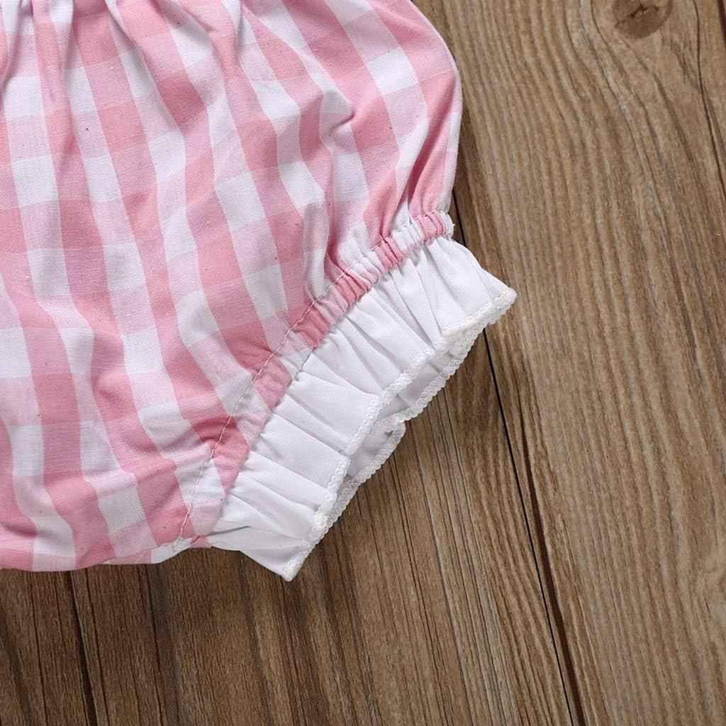 PAOLIAN Conjuntos para Bebe Ni/ñas Verano Reci/én Nacidos Camisetas de Tirantes/Pantalones Cortos Beb/é Ni/ñas Sin Manga Bautiz Cuadros Encaje 0-24 Meses