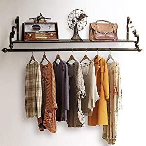"Nicheo Storage Wrought Iron Coat Rack Shelf Wall Mounted, Hanging Closet with Clothing Rods, Garment Hanger for Daily Clothes, Hat, Bag and More. Ideal Organizer for House (31.5"", Bronze)"