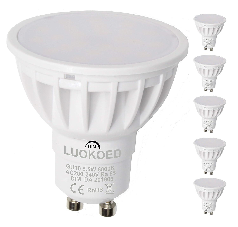 Bombilla Gu10 LED Foco 500lm Equivalente a 50W Luz Blanca Fr/ía 6000K LUOKOED/®