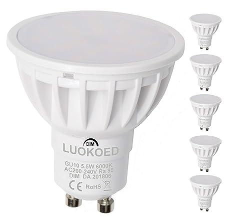 Bombilla Gu10 LED Foco 500lm Equivalente a 50W Luz Blanca Fría 6000K Regulable LUOKOED® (pack de 5)