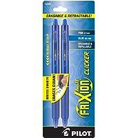 Pilot FriXion Clicker Retractable Erasable Gel Pens, Fine Point, Blue Ink, 2-Pack -31461