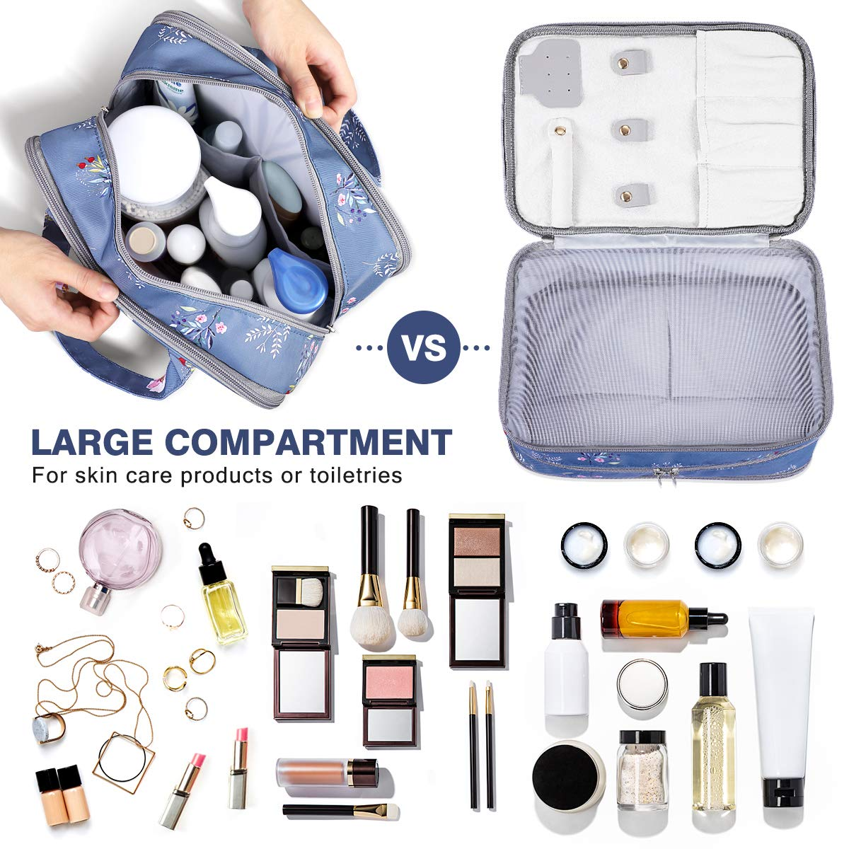 Travel Makeup Bag Large Cosmetic Bag with A Handy Makeup Pouch, Water-resistant Hanging Toiletry Bag for Cosmetics Makeup