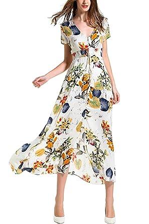 68b656d1823 Sunm boutique Women s Button up Split Floral Print Flowy Party Maxi Dress  Bohemian Dress V Neck