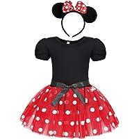 Jurebecia Vestido de Lunares + Mini Mouse Ears Diadema para niñas Princesa Bowknot Tutu Fiesta de cumpleaños Trajes 1-7…
