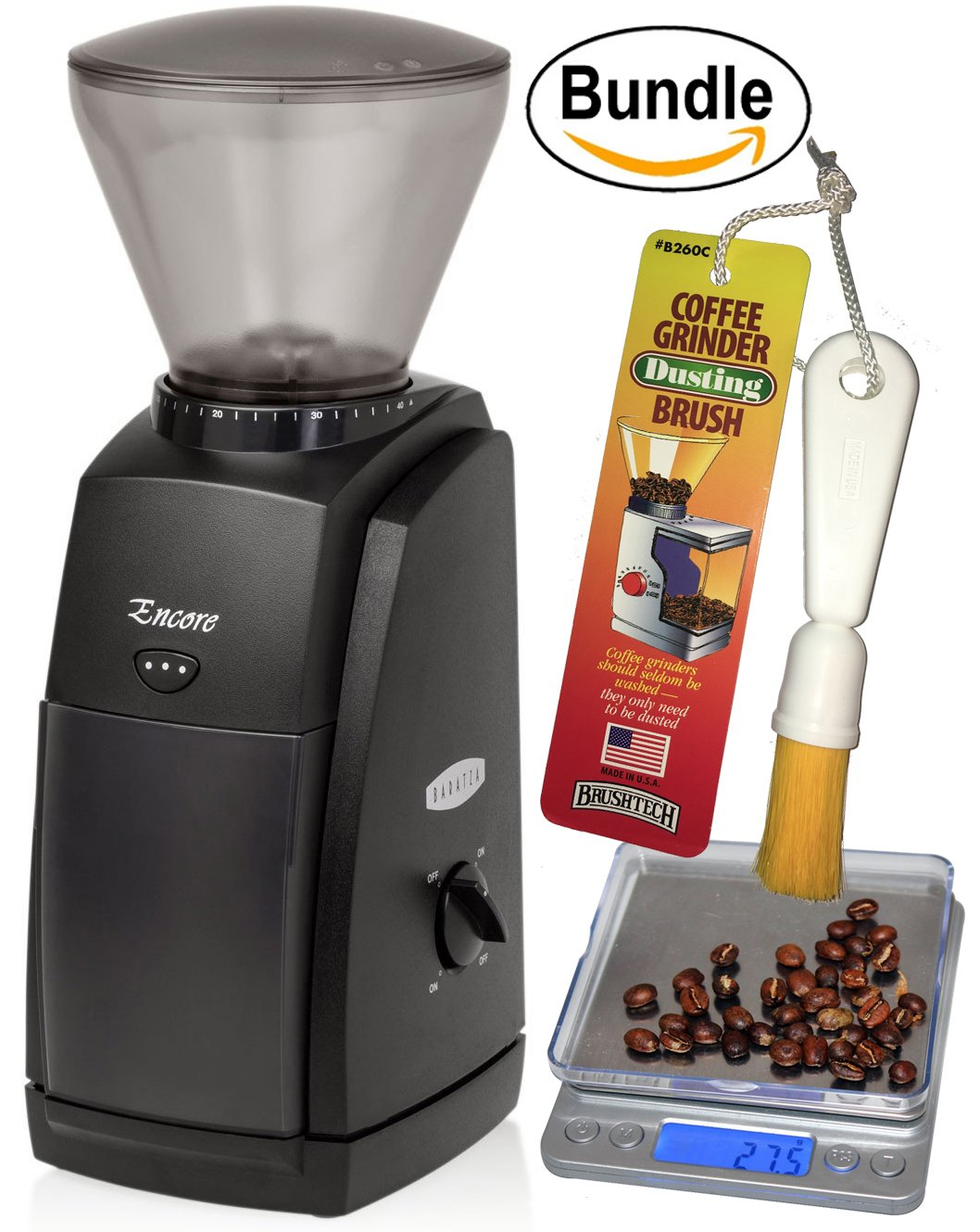 Baratza Encore Conical Burr Coffee Grinder, CoastLine Digital Kitchen Scale, and Coffee Grinder Brush by Baratza
