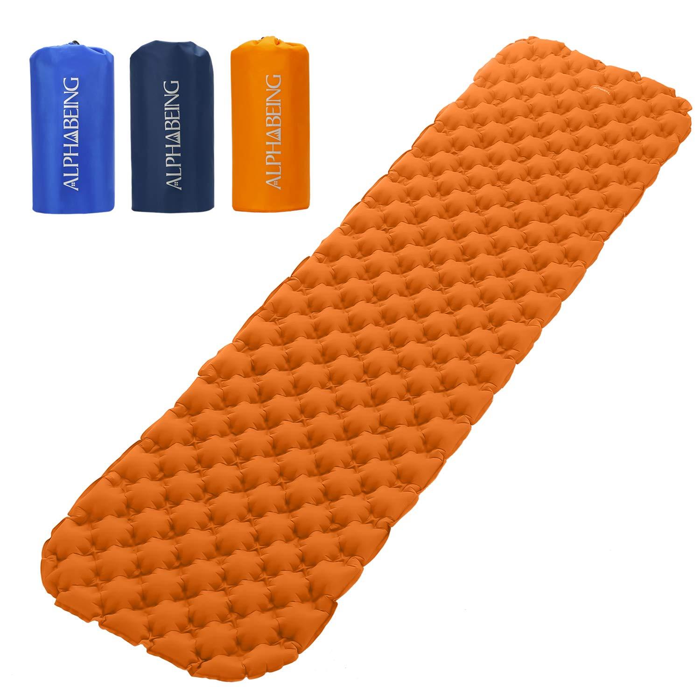 ALPHABEING 超軽量エアスリーピングパッド - 空気注入式キャンピングマット バックパック、ハイキング、旅行用 - 優れた安定性とサポートを提供するエアセルデザイン B07H7GD3MK オレンジ  オレンジ