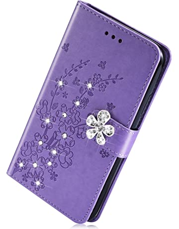 Herbests compatible con Samsung Galaxy S10e Estuche, Funda Cuero PU Flores en Relieve Diamante Rhinestone