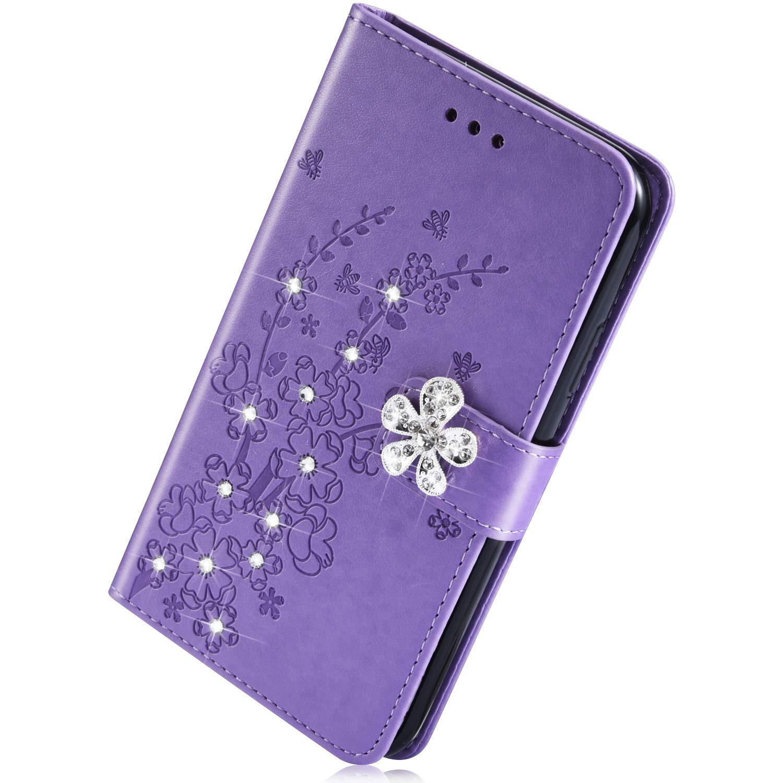 Herbests compatible con Samsung Galaxy S10 Estuche, Funda Cuero PU Flores en Relieve Diamante Rhinestone Glitter Carcasa de Piel Flip Wallet Cover con Ranuras para Tarjetas, Dorado