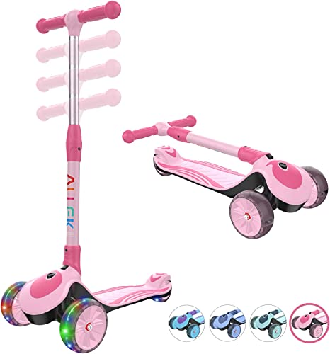 Allek F01 Folding Kick Scooter for Kids, 3-Wheel LED Flashing Glider Push Scooter with Height Adjustable and Foldable Handlebar, Dual Color Anti-Slip Wide Deck for Boys Girls 3-12