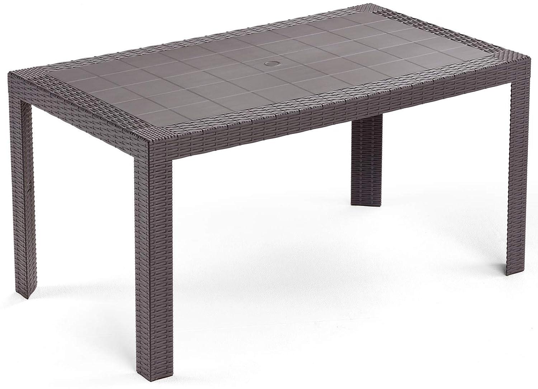 SAVINO FILIPPO SRL Tavolo tavolino rettangolare 140x80 Urano marrone simil rattan in dura resina di plastica con foro per ombrellone per esterno casa balcone bar da giardino