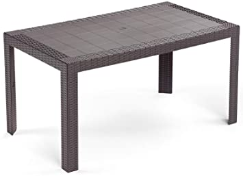 Table d\'appoint rectangulaire 140 x 80 Urano Marron imitation rotin ...