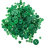 Aspire 660 PCS Assorted Sizes Resin Buttons for Kids DIY Crafts, New Christmas Color-Dark Green