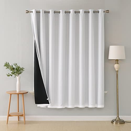 Deconovo Wide Width Patio Windproof White Blackout Window Curtain Panel