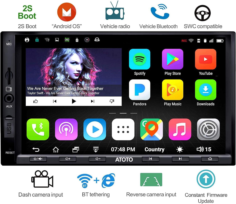 ATOTO A6 Doble DIN Android navegación del Coche estéreo con Doble Bluetooth - Estándar A6Y2710SB 1G / 16G Car Multimedia Radio, WiFi/BT Internet Tethering, Soporte 256G SD y más