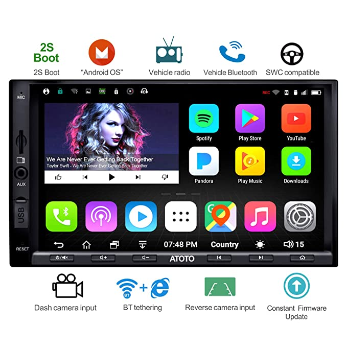ATOTO A6 Double Din Android Car Navigation Stereo with Dual Bluetooth -  Standard A6Y2710SB 1G/16G Car Entertainment Multimedia Radio,WiFi/BT  Tethering