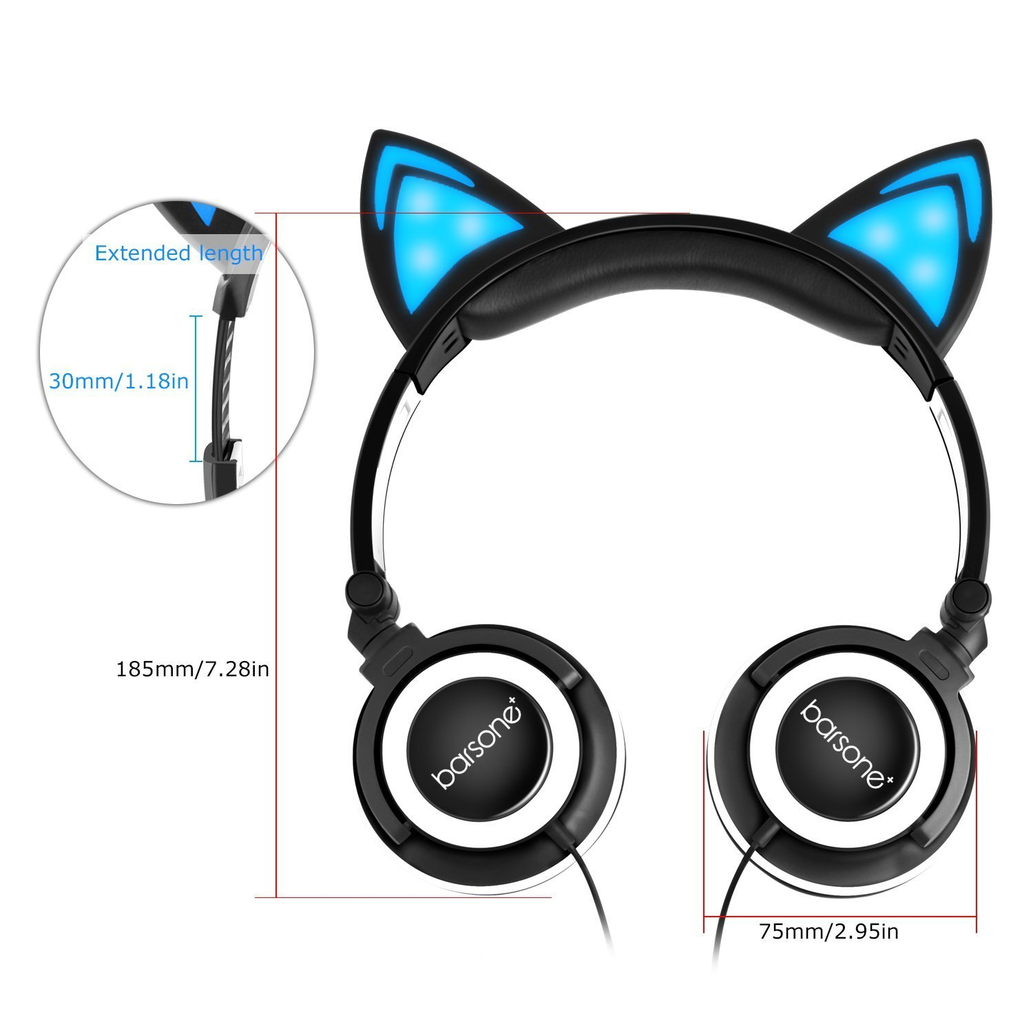 Kids Headphones, Barsone Wired Cat Ear Headphones,Foldable Cat Cosplay Earphone Over Ear Children\'s Headsets With Glowing Light, Girls/Boys/Young people Cute Headphones, Compatible for all smart phones and tablets (Black)
