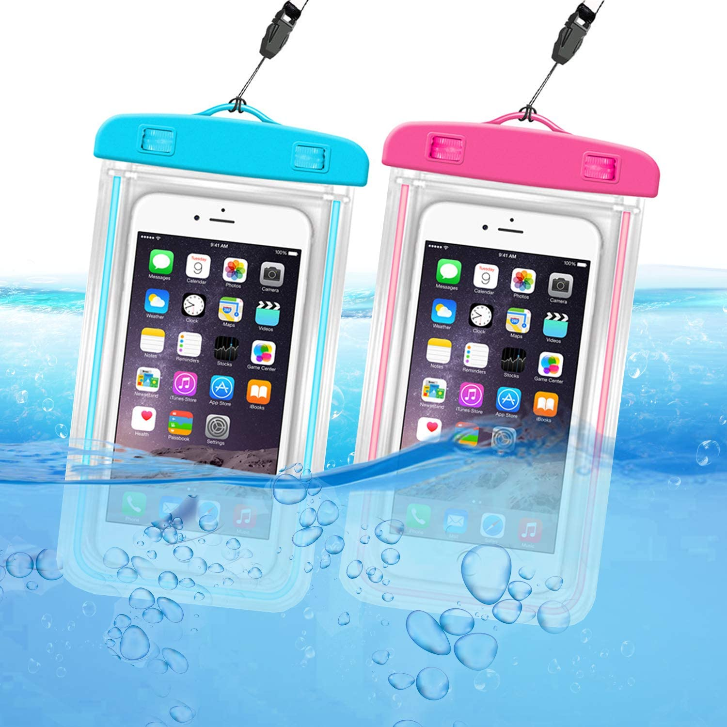 ORIbox Universal Waterproof Pouch Phone Dry Bag with Luminous Ornament Case for iPhone 12 11 Pro Max XS Max XR X 8 7 6S Plus SE 2020 12 mini Galaxy Pixel, Blue & Rose red(2 Packs)