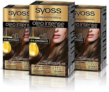 Syoss Oleo Intense - Tono 6-55 Castaño Humo (Pack De 3) – Coloración permanente sin amoníaco – Resultados de peluquería – Cobertura profesional de ...