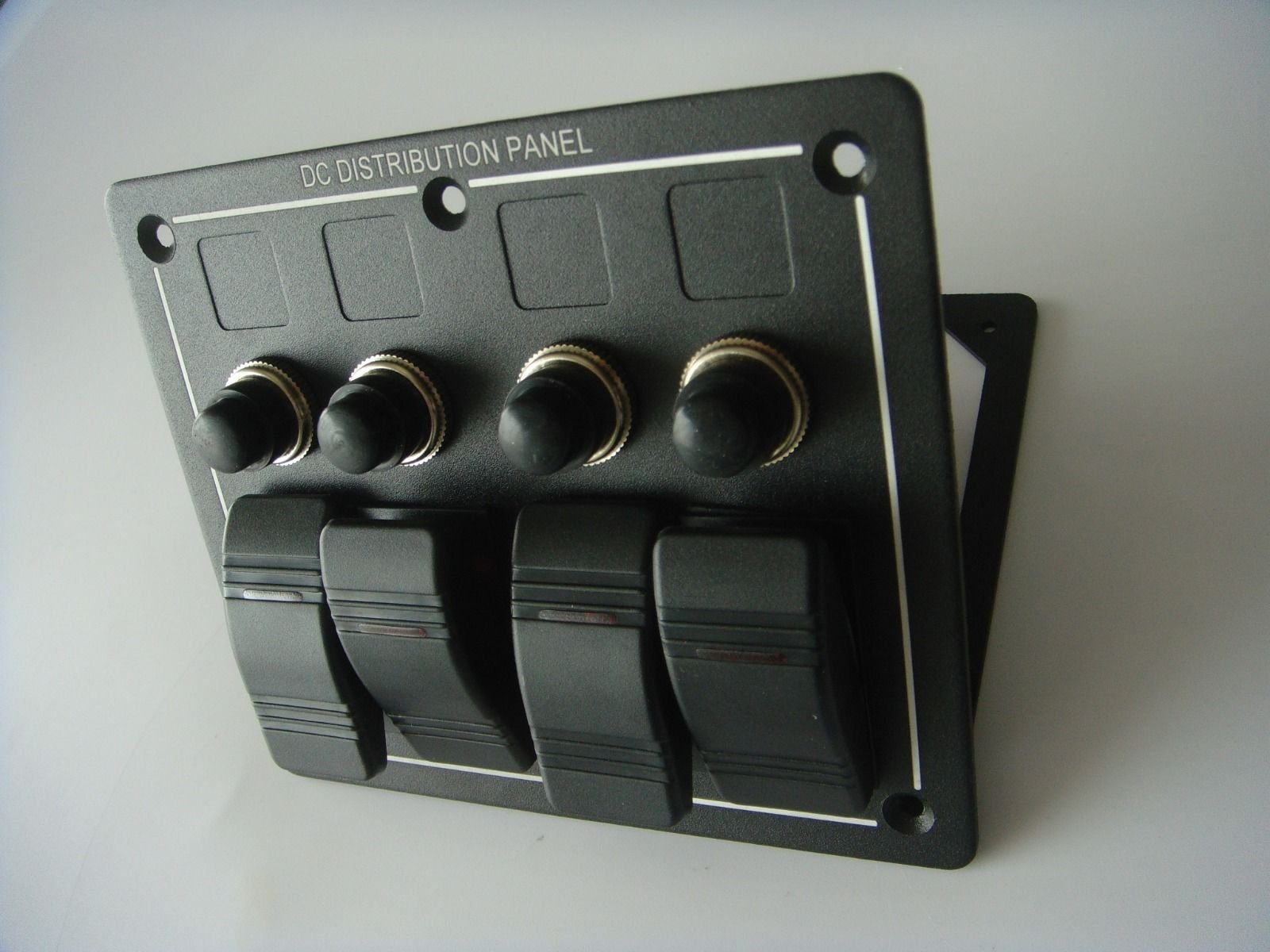 Amarine-made 4 Gang Aluminium LED Rocker & Circuit Breaker Waterproof Marine Boat Rv Switch Panel