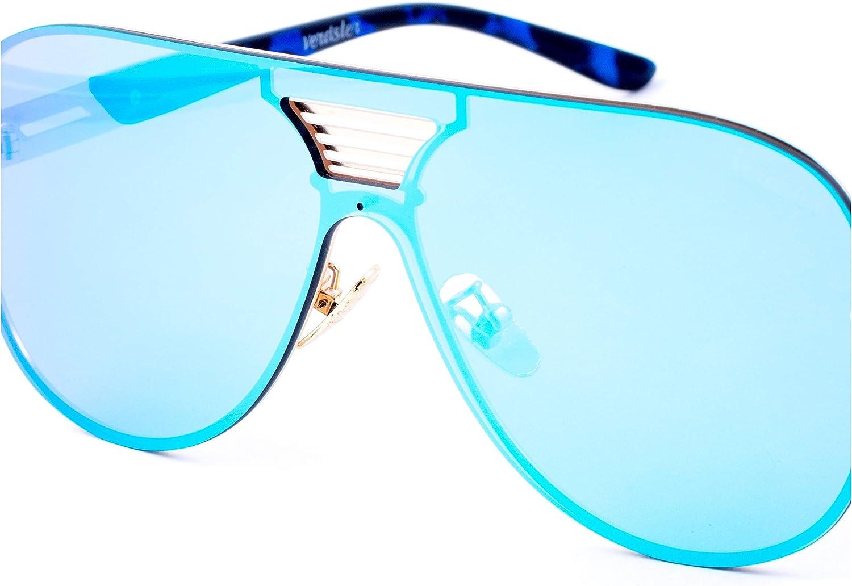 Verdster Gafas de Sol Extra Grandes Azules de Espejo para Hombre Blade – Un Estilo Osado para Hombres a la moda – Montura Grande Plana – Accesorios Incluidos