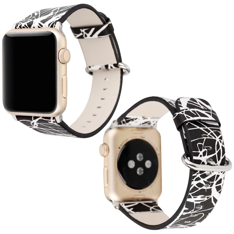 Sasairyレディースグラフィティパターンレザースポーツ時計バンドストラップfor Apple Watchシリーズ1 / 2 B0757R14Z2カラー-3 38 mm