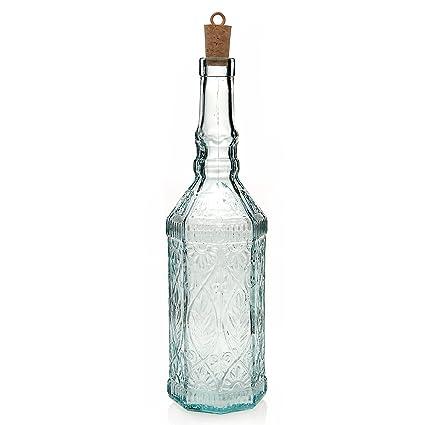 """Botella """"Fiesole con corcho Botella de Licor Recycled Cristal Eco Comercio Justo 720"""