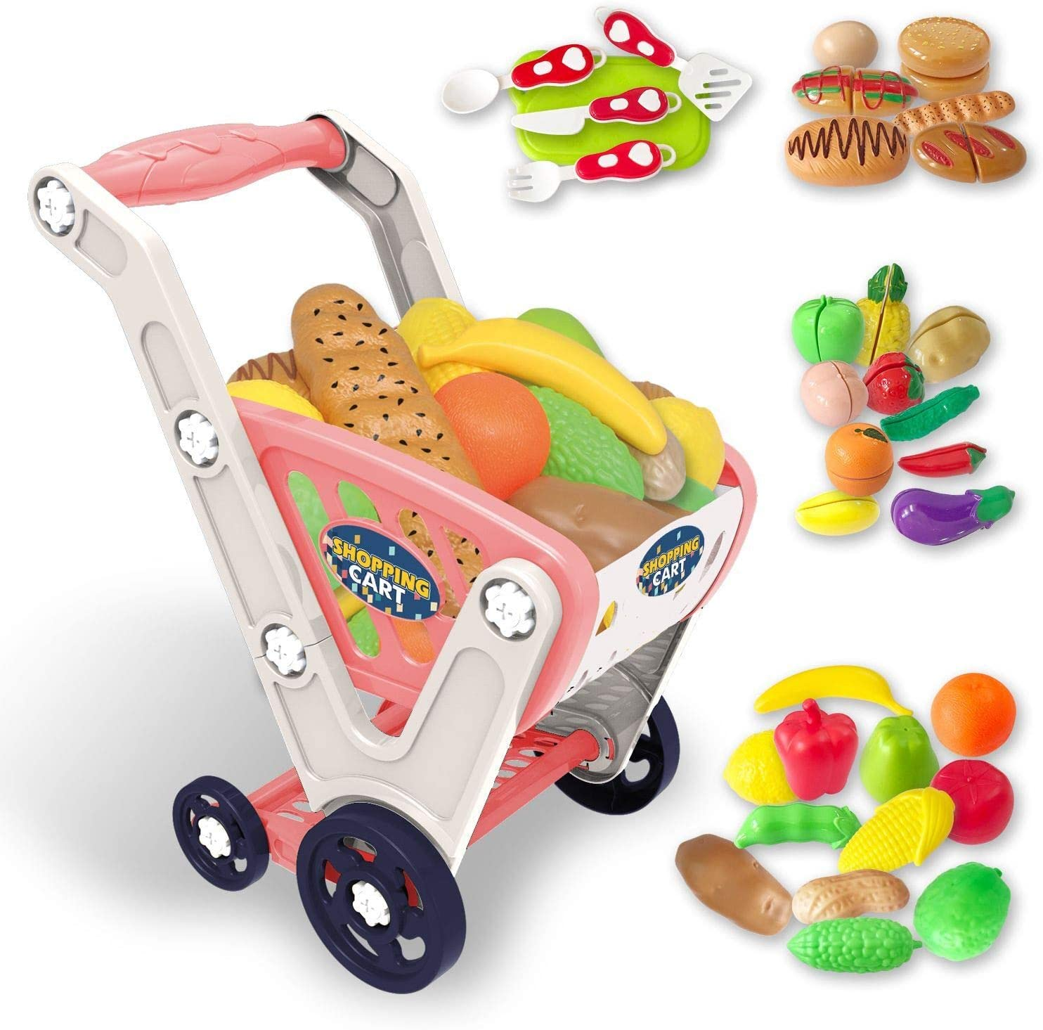 LADUO Large Kids Shopping cart Toy,Childrens Shopping Trolley Basket Toys.33pcs Play Shopping,Kitchen,Food Role Play(23