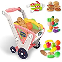 LADUO Large Kids Shopping cart Toy,Childrens Shopping Trolley Basket Toys.33pcs Play Shopping,Kitchen,Food Role Play(23…