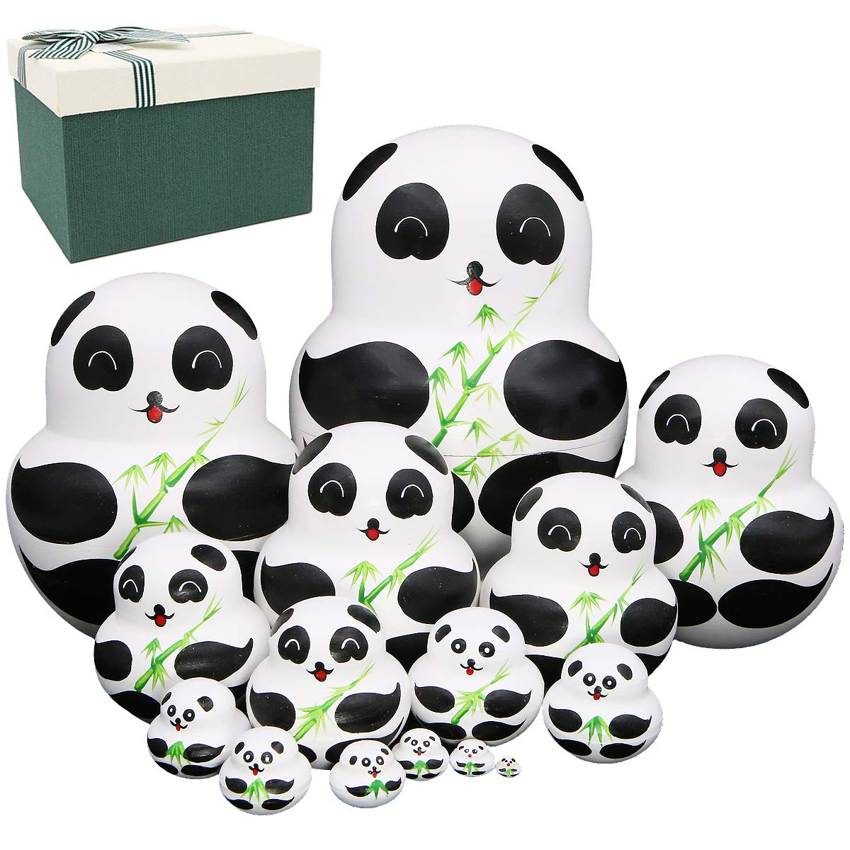Apol Set of 15 Panda Bear with Bamboo Nesting Dolls Big-Belly Wooden Handmade Matryoshka Russian Doll in a Box with Bow for Kids Toy Home Decoration Year