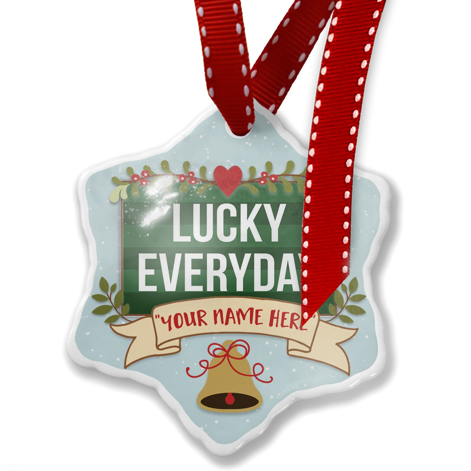 Add Your Own Custom Name, Lucky Everyday St. Patrick's Day Dark Green Stripes Christmas Ornament NEONBLOND