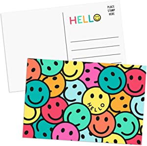 Sweetzer & Orange Hello Postcards Pack (60 Post Cards) 4x6 Postcards for Kids and Adults. 300gsm Note Cards. Blank Hello Greeting Cards, Smiley Face Hello Cards