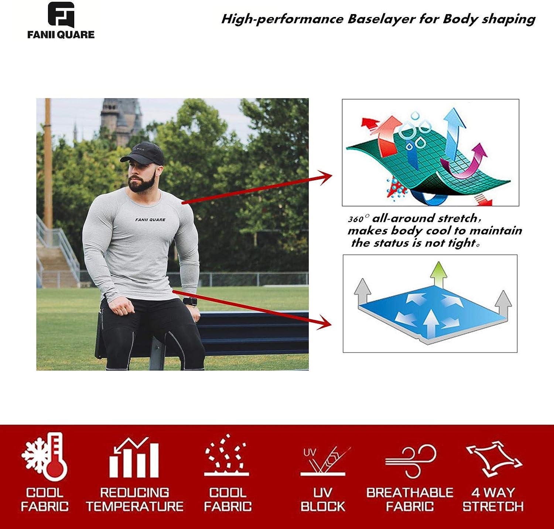 Fanii Quare Men's Soft Slim Long Sleeve Dry-Fit Compression Gym Trainning Shirt: Clothing