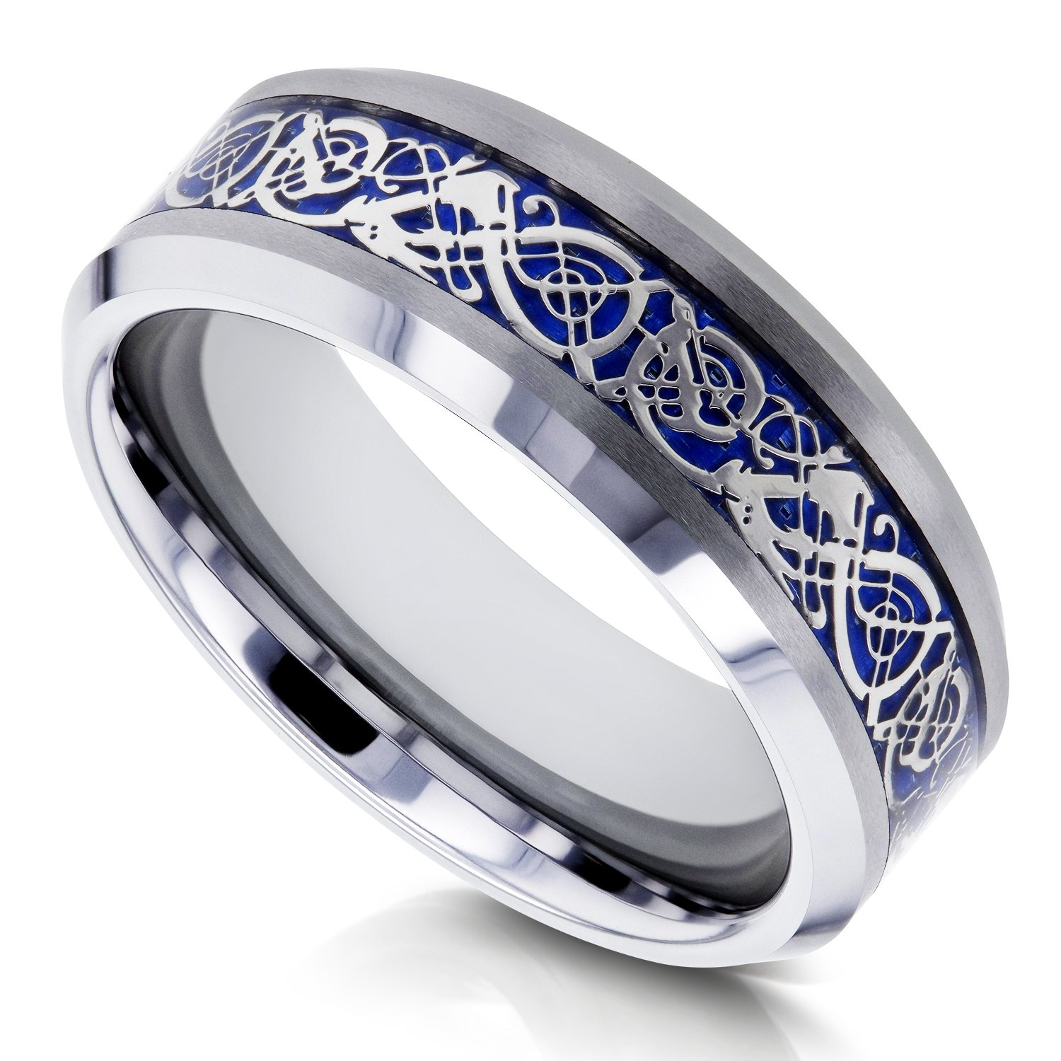 8mm Celtic Dragon High Polish Comfort Fit Mens Tungsten Carbide Ring - Size 10 by Kobelli