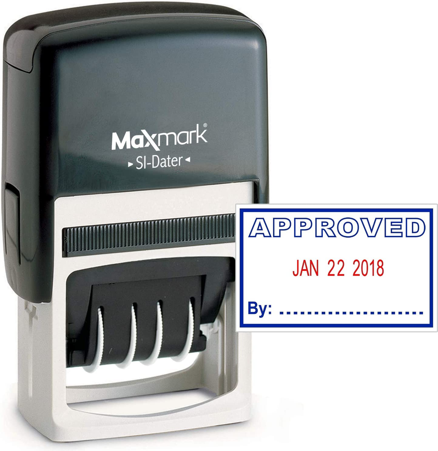 MaxMark Office Date Stamp with Approved Self Inking Date Stamp - Blue/RED Ink