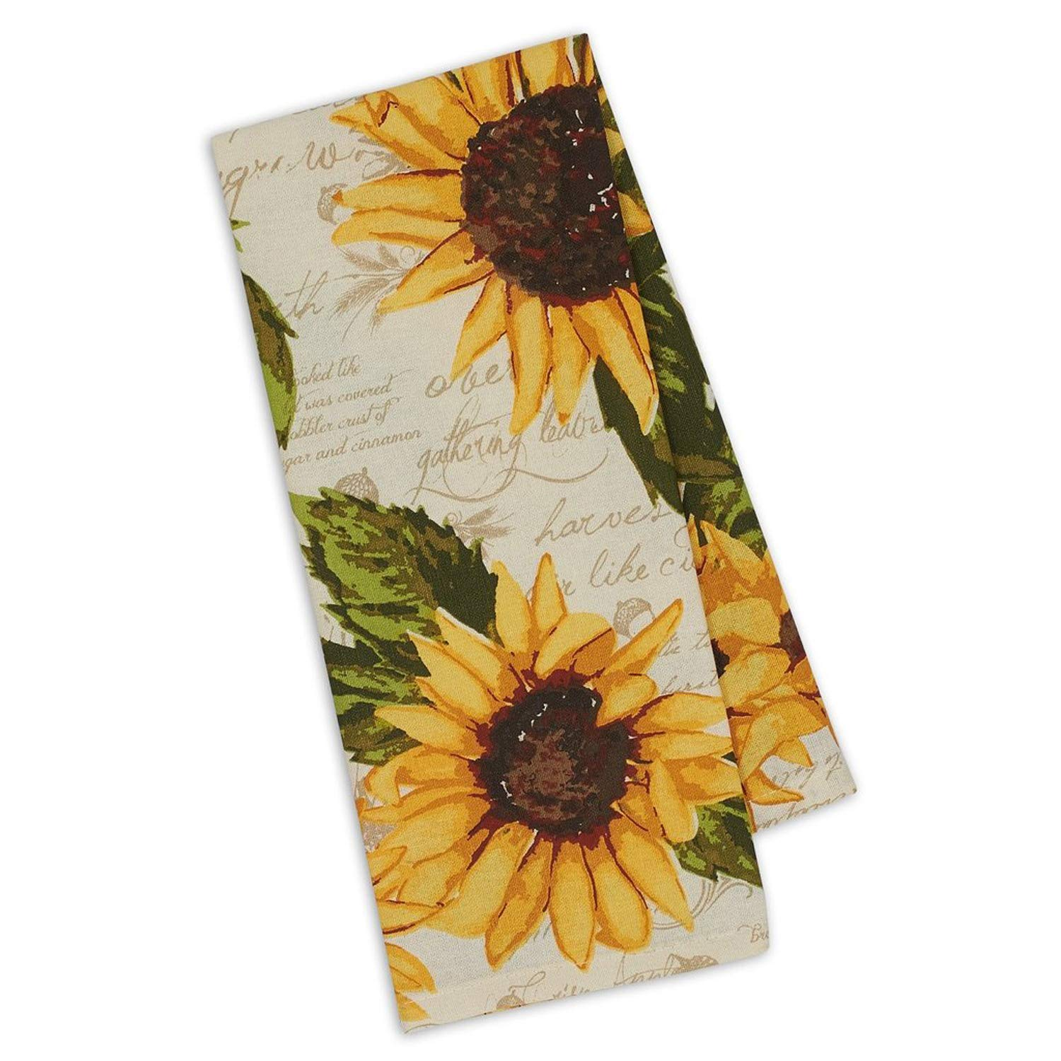 "Design Imports Rustic Sunflowers Printed Dish Towel Kitchen 18"" x 28"" 100% Cotton"