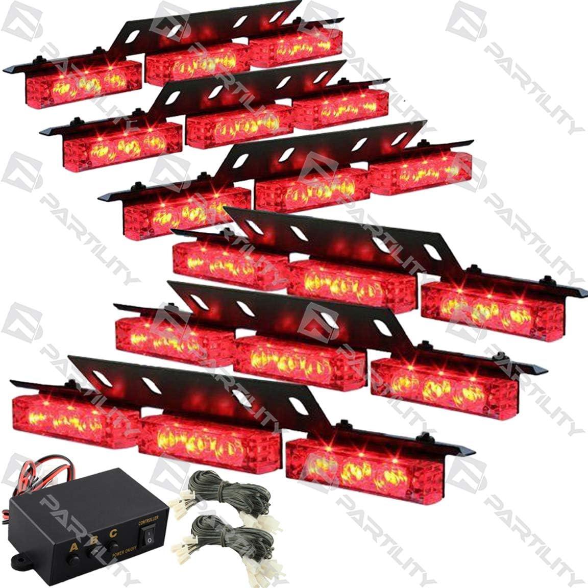 Amber 54 LED Emergency Warning Flash Strobe Lights Bar Tow Auto Car Truck Windshield Deck Grill Dash