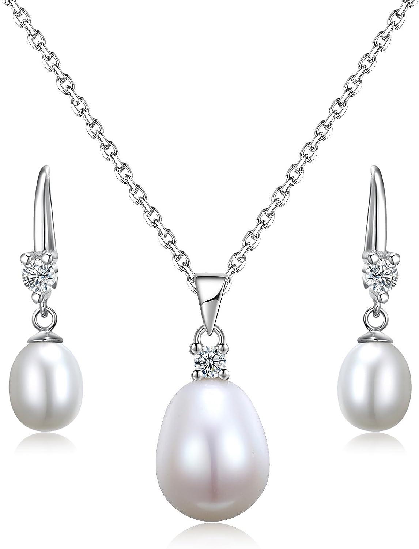 Sreema London - Juego en Plata de ley de pendientes de gota de perla y collar de 46 cm con colgante. Ideal para San Valentín, aniversario, regalo de cumpleaños. Viene en caja de regalo