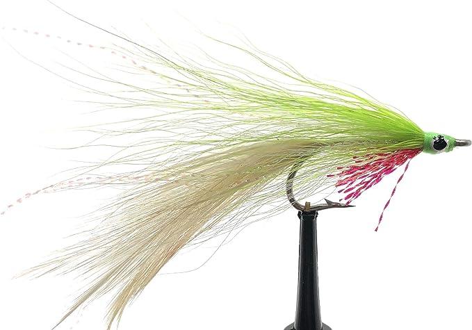 Lefty/'s Deceiver Pink//Chartreuse #2  saltwater flies