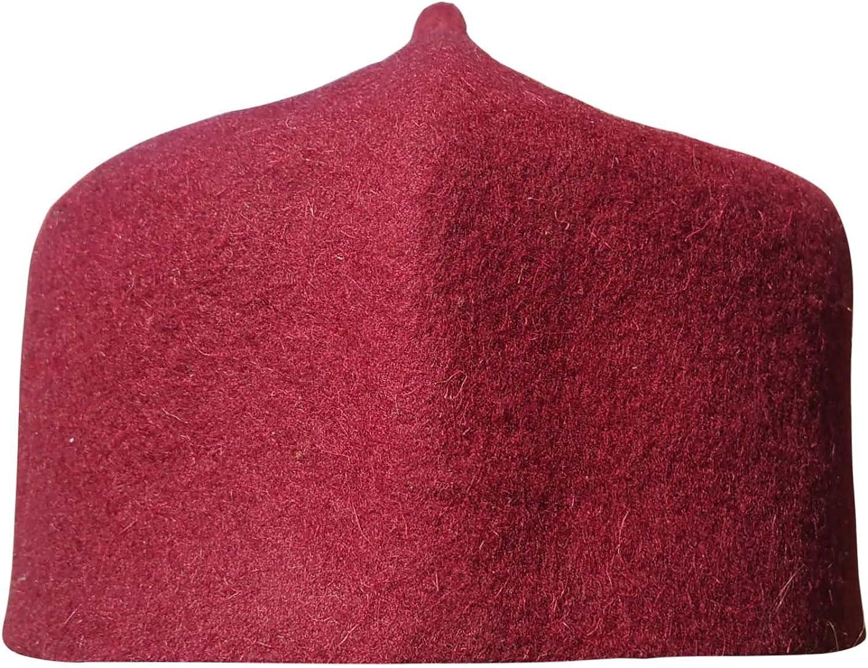 TheKufi Red Felt Wool Fez Muslim Hat with Tip Kufi Prayer Cap Islamic Wear