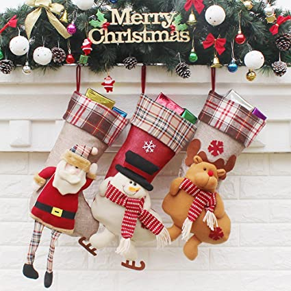 Christmas Stockings 3 Pack Decorations 18 Cute Santa Deer Snowman Candy Socks Gifts Bag 3d Applique Style Detailed Designs Embroidered Edges